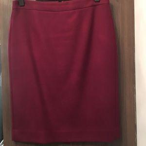 Burgundy wool pencil skirt